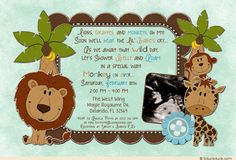 Wild Safari Aqua Blue Baby Shower Invitation - An optional ultrasound photo adds a keepsake touch to your cute jungle card.