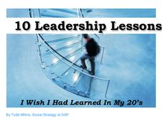 10 Leadership Lesson that I wish I had learned in my 20's