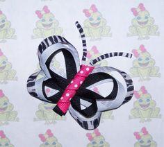 Hot Pink Zebra BUTTERFLY Hair Clip (Ribbon Sculpture) via Etsy