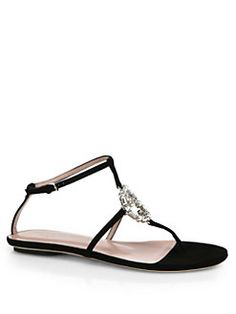 Gucci - GG Crystal Leather & Suede Thong Sandals