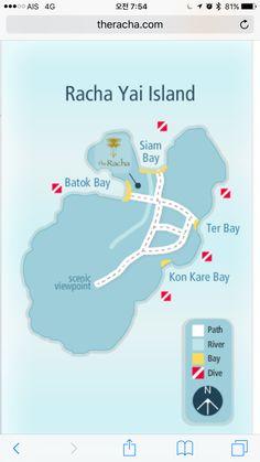 Racha Island map (라챠섬 지도) 바로바로 올리는 푸켓 여행기 (12/16~12/20) - 럴럴럴 월드 River, Island, Islands, Rivers