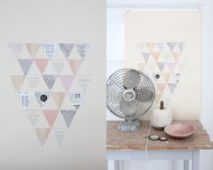 Cut triangle shapes out of pretty papers, (magazine images), old bookpages etc. and create geometric art piece.