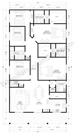 Barndominium Floor Plans with 2 Master Suites – What to Consider Floor Plans 2 Story, Barn Homes Floor Plans, Barndominium Floor Plans, Farmhouse Floor Plans, Home Design Floor Plans, House Plans One Story, Barn House Plans, Bedroom House Plans, New House Plans