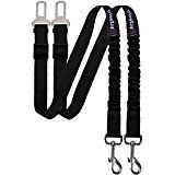 Vastar Pet Dog Seat Belt Leash Adjustable Dog Cat Safety Leads Harness Vehicle Car Seatbelt Harness for Pets with Elastic Nylon Bungee Buffer for Shock Attenuation