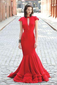 Fall 2014 Trend: Well Red - Alexandra Vidal's silk georgette dress; Badgley Mischka cuff - WWD.com