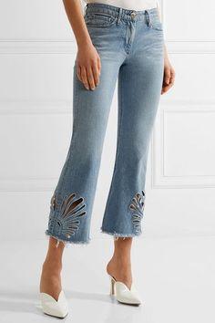 3x1 - Freja Cropped Cutout High-rise Bootcut Jeans - Light denim - 25