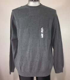 Haggar Mens Pullover Sweater Sz XXL 2X Gray Crew Neck Cotton Ribbed Trim  Texture  6787d0f61