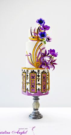 Home - Catalina Anghel Azucar Arte Gorgeous Cakes, Pretty Cakes, Cute Cakes, Spring Cake, Summer Cakes, Art Deco Cake, Cake Art, Take The Cake, Love Cake
