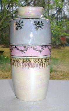 Porcelain ceramic vase Germany blue pink gold trim high glaze