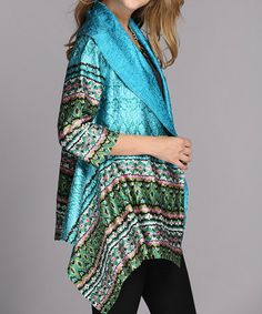 Another great find on #zulily! Turquoise Tribal Drape Jacket - Women & Plus by Jerry T Fashion #zulilyfinds