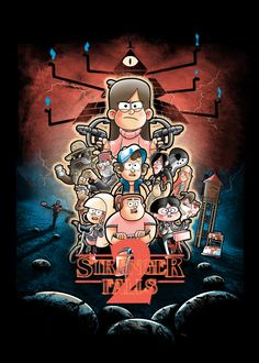 Gravity Falls T-Shirt by Carlos Roman aka trheewood. Show everyone that you are a fan of Gravity Falls with this Stranger Things parody t-shirt. Gravity Falls Poster, Gravity Falls Crossover, Gravity Falls Funny, Gravity Falls Fan Art, Gravity Falls Comics, Cartoon Posters, Cartoon Art, Geeks, Grabity Falls