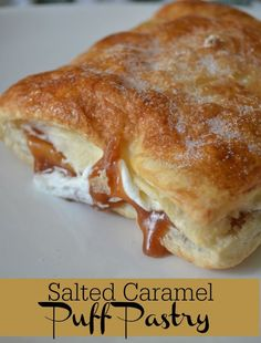 This Salted Caramel Puff Pastry is so go. - Salted Caramel Puff Pastry – Buttery Puff Pastry, Smooth Salted Caramel and Real Whipped Cream! Fluff Desserts, Mini Desserts, Puff Pastry Desserts, Just Desserts, Delicious Desserts, Dessert Recipes, Yummy Food, Recipes With Puff Pastry, Appetizers With Puff Pastry