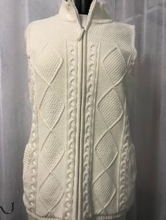 Talbots Ivory Cable Knit Sleeveless Zipper Vest Size Large #Talbots #Vest #Casual