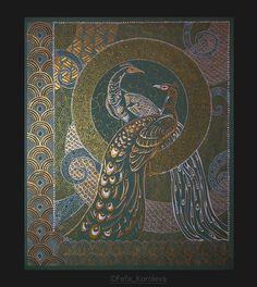 Павлины - диптих. Левая  часть. Материалы: картон, акрил, тушь, перо, кисть Размер 45х57см