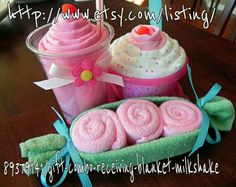 Milk shake cupcake and three peas in a pod baby shower gifts, include receiving blanket, wash clothes, ribbon and containors