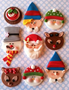 Christmas cupcake toppers via Etsy. Would be cute reproduced in clay and used as ornaments