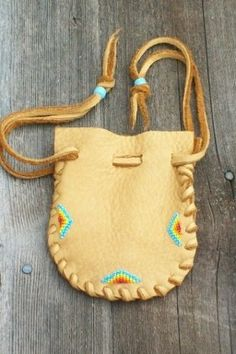 Beaded leather pouch Beaded drawstring medicine bag