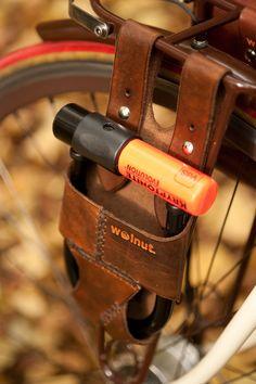 "Leather Bike U-Lock Holster - Rack-Mounted - - for 5.5"" x 7.25"" U-Lock. $64.00, via Etsy."