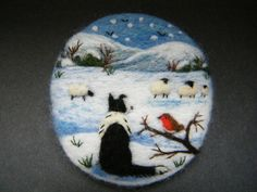 Hand Made Needle Felted Brooch 'Gwen and Little Robin Redbreast' by T. Dunn | eBay