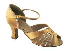 Tan Satin Rhinestone enhanced Ballroom Dance Shoe -- shiny! And a reasonably wide heel.