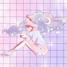 pretty art cute kawaii MY EDIT space stars pastel grid pale pastel goth aesthetic cosmic latte Spacekin hacuubii grid edit biiadayo