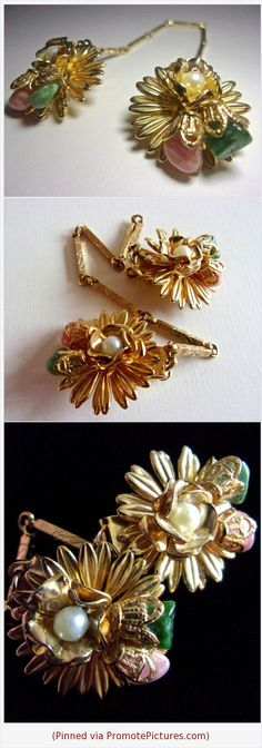 Gemstone Rhodochrosite Jade Sweater Clip Guard Faux Pearl Flower Motif Gold Tone Vintage #sweaterclip #clip #gemstoneclip #rhodochrosite #jade #flower #floral #green #pink #vintage #daisy https://www.etsy.com/RenaissanceFair/listing/599977931/gemstone-rhodochrosite-jade-sweater-clip?ref=listings_manager_grid  (Pinned using https://PromotePictures.com)