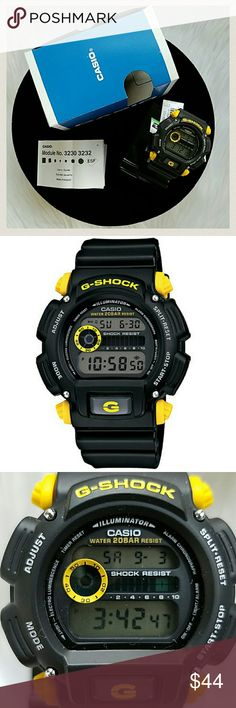 G-Shock Casio DW9052-1C9 Men's Watch With full 200M WR, shock resistance, 24Hr stopwatch and countdown timer, this standard issue model with yellow accents never looked this good. Shock Resistant 200 Meter Water Resistant El Backlight with Afterglow Flash Alert (flashes with buzzer that sounds for alarm, countdown timer time-up alarm, hourly time signal) Multi-Function Alarm 24 HR Stopwatch 200 Meter Water Resistance Shock Resistant Band Type:  Resin PRICE IS FIRM G-Shock Accessories Watches