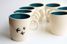 Bird Mug in Teal- Handmade Ceramics by RossLab- Bird design pottery