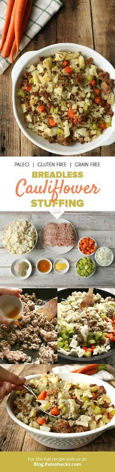 Loaded with herbs and protein, this breadless cauliflower stuffing is Thanksgiving in a bowl. Get the full recipe here: http://paleo.co/caulistuffing
