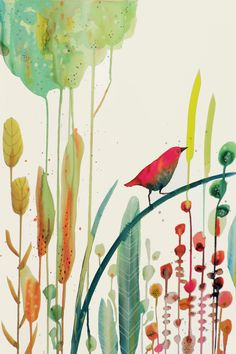watercolor painting, bird in a field of flowers