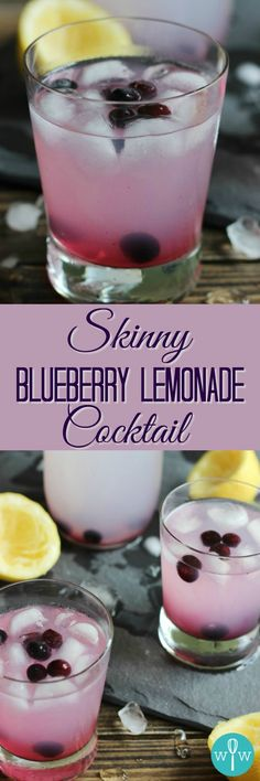 """Skinny"" Blueberry Lemonade Cocktail - Refreshing, low-calorie, and easy to make, this summertime libation uses only two ingredients! Super simple recipe! 