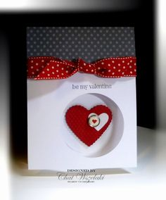 RECIPE:  Stamps:  P.S. I Love You  Paper:  Whisper White, Pattern DSP, Real Red  Ink:  Basic Gray  Accessories: designer brad, polka dot ribbon  Tools:  extra large circle punch, Big Shot, scalloped hearts of heart, Framelits Heart Colelctions