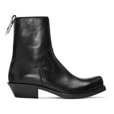 Vetements - Black Leather Ring Ankle Boots