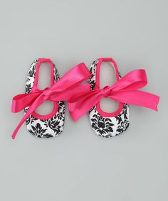 Look at this #zulilyfind! Black & Hot Pink Damask Mary Jane Booties by Tutus by Tutu AND Lulu #zulilyfinds