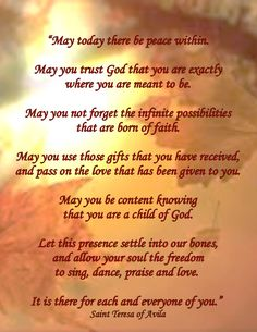 A quote from St. Theresa of Avila Catholic Quotes, Catholic Prayers, St Theresa Of Avila, Mother Theresa Quotes, Words Of Hope, Prayer Verses, Saint Quotes, Santa Teresa, Yoga Quotes