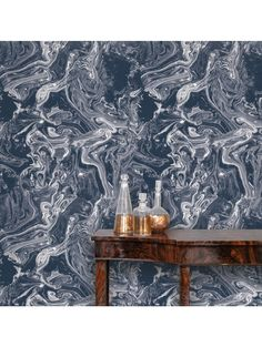 Marbled Blue Removable Wallpaper, Blue