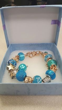 Turquoise and gold stars and family bracelet