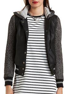 Layered Faux Leather Varsity Jacket #charlotterusse #charlottelook