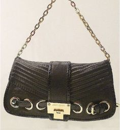 Designer Handbags - Jimmy Choo Black Python Leather Bag