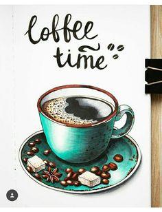 Kaffee # Food and Drink art caffeine Marker Kunst, Copic Marker Art, Copic Art, Sketch Markers, Watercolor Food, Watercolor Paintings, Painting Art, Copic Kunst, Coffee Artwork