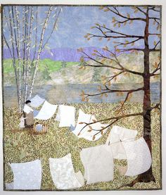 """Barbara Strobel Lardon Art quilts: """"Washday With Frieda"""" Finale! Quilt Art, Tree Quilt, Quilting Projects, Quilting Designs, Patchwork Designs, Landscape Art Quilts, Thread Painting, Quilted Wall Hangings, Small Quilts"""