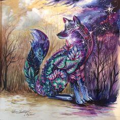 #fox #raposa #florestaencantada #stars #night #noitemágica #pintura #painting #paint #jardimencantado #magic #coloringbook #coloringforadults #coloringbooks #livrodecolorir #livrodecolorirparaadultos #lápisdecor #aquarela #watercolors #watercolours #mondeluz #mondeluz72 #johannabasford #johanna