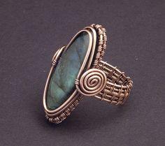 Copper Labradorite Woven Ring size 9. $90.00, via Etsy.
