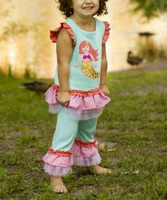 This Blue Mermaid Ruffle Top & Pants - Infant, Toddler & Girls by Sam and Sydney is perfect! #zulilyfinds