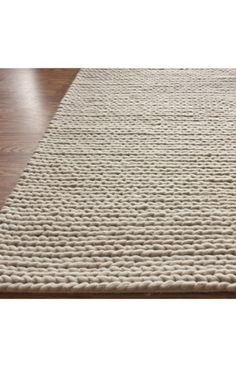 Textures Collection Handmade Wool Cable White Rug