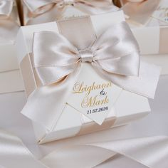Ivory & Champagne Wedding favor boxes with satin ribbon, bow and tag, Elegant Personalized Wedding candy or gift box, Wedding bonbonniere