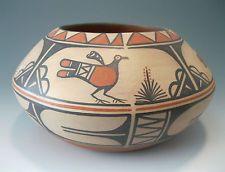 Native American Santo Domingo Pueblo Pottery Bowl with Parrots by Robert Tenorio