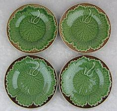 "$65.00  Bordallo Pinheiro Portugal-4 Round Brown Dot Green Leaf Bpi49 8"" Lunch Plate Set"