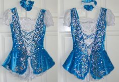 Ice Skating Dress in Teal Velour with White lace - Traditional style by Lilachelene