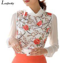 Mulheres blusas de verão 2016 plus size turn-down collar impressão blusa de chiffon branco camisas de manga longa para as mulheres blusa feminina(China (Mainland))